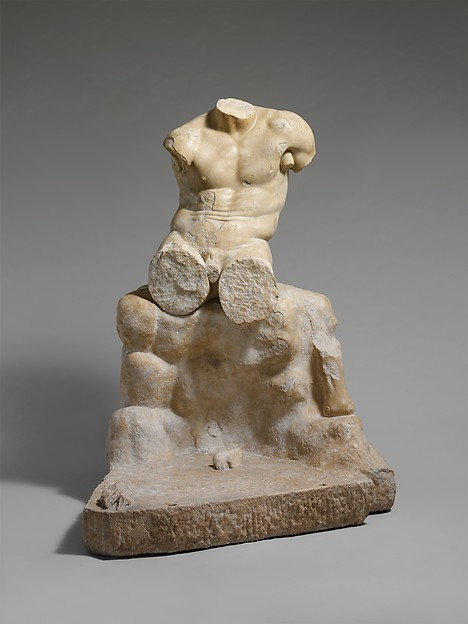 Marble statue of Herakles seated on a rock