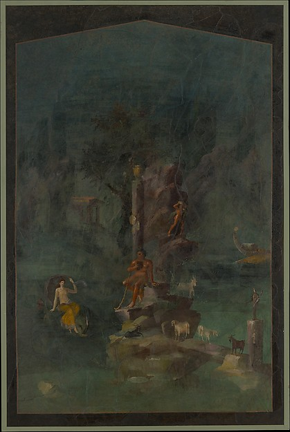 Wall painting: Polyphemus and Galatea in a landscape, from the imperial villa at Boscotrecase