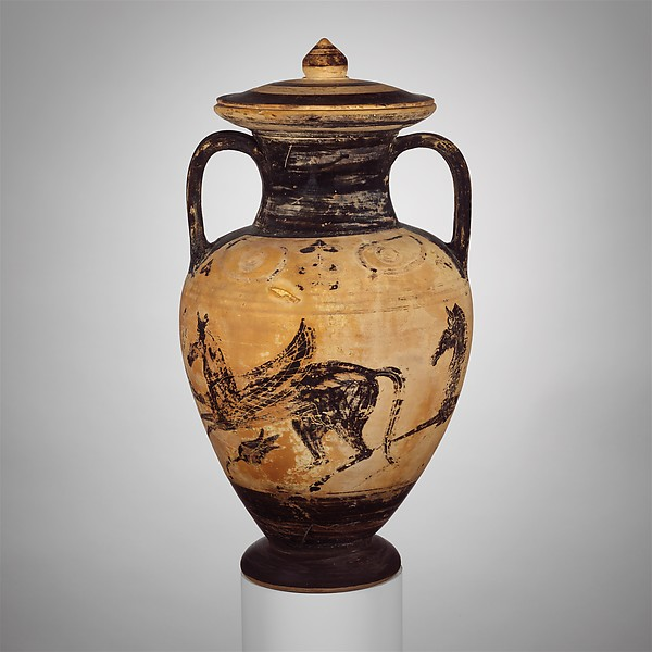 Terracotta neck-amphora (jar) with lid