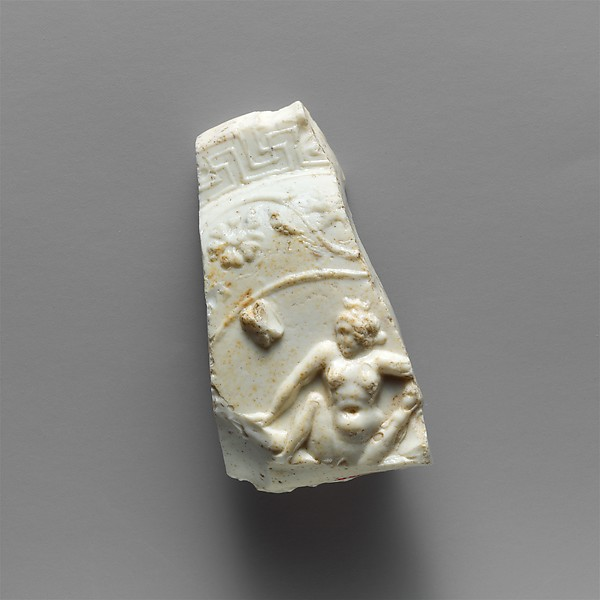 Glass bowl fragment with erotic scenes