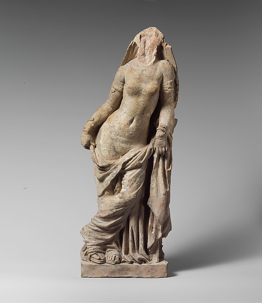 Terracotta statuette of a veiled woman