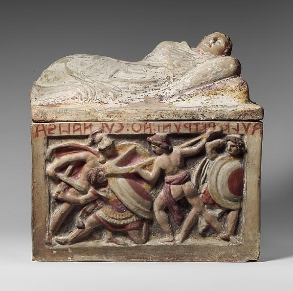 Terracotta cinerary urn