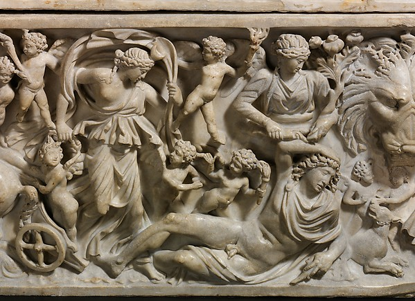 Marble sarcophagus with the myth of Selene and Endymion