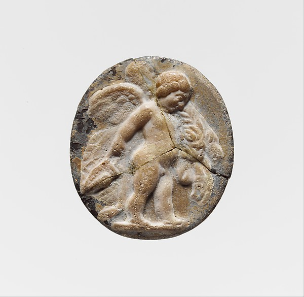Glass cameo with Eros as a child, with the weapons of Herakles