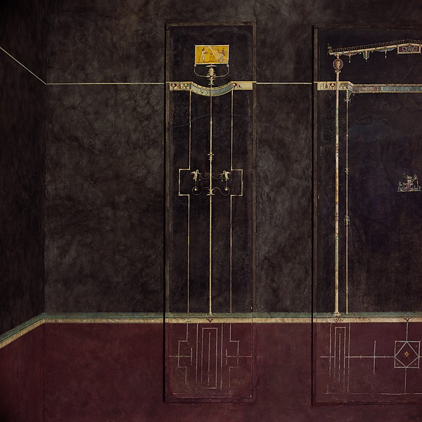 Wall painting on black ground: Egyptianizing scene and pair of swans, from the imperial villa at Boscotrecase