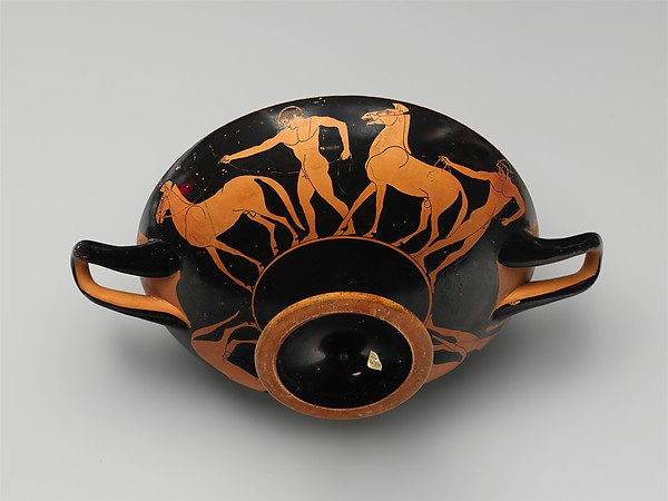Terracotta kylix (drinking cup) with horses