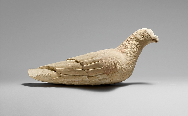 Limestone statuette of a bird