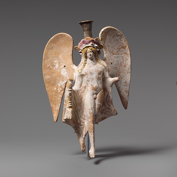 Terracotta lekythos (oil flask) in the form of a flying Eros