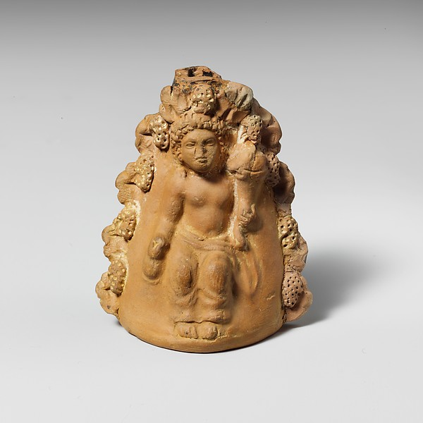 Terracotta oinochoe (jug) with a seated boy