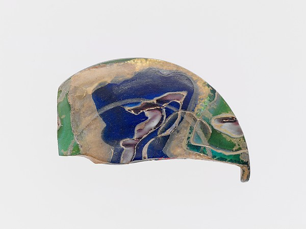 Gold-band glass lid fragment