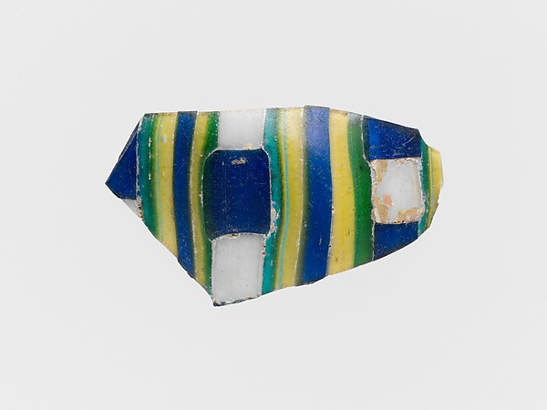 Striped mosaic glass fragment