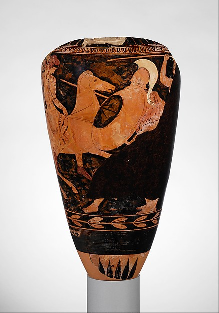 Fragmentary terracotta loutrophoros (ceremonial vase for water)