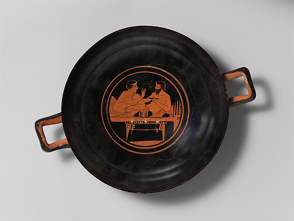 Terracotta stemless kylix (drinking cup)