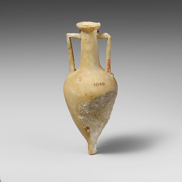 Alabaster amphoriskos (small flask)