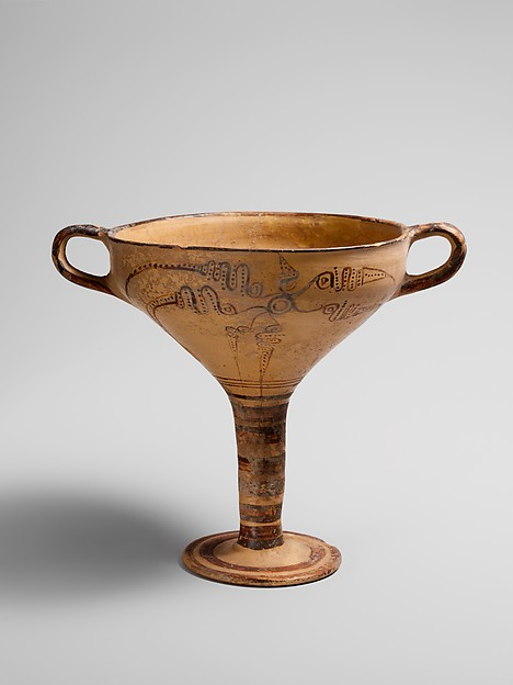 Terracotta stemmed cup with murex decoration