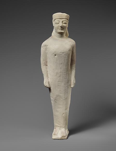 Limestone statuette of a beardless male votary in Greek dress