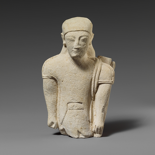"Limestone statuette of a ""hunter"" in Egyptianizing dress"