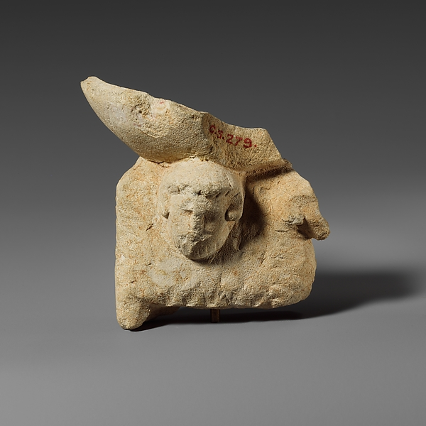 "Limestone ram and head of ""Zeus Ammon"" supporting an incense burner"