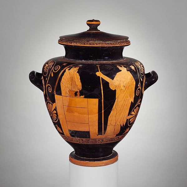 Terracotta stamnos with cover (jar)