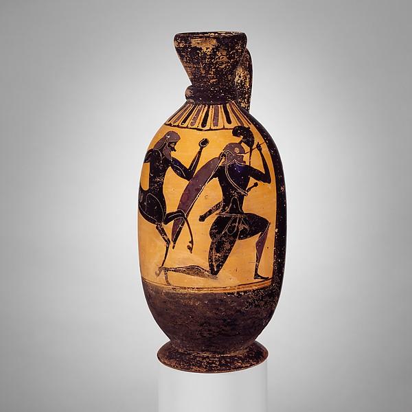 Terracotta lekythos (oil flask) with centaur battling a warrior