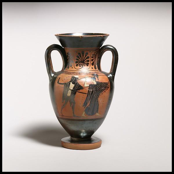 Terracotta neck-amphora (jar) with double handles