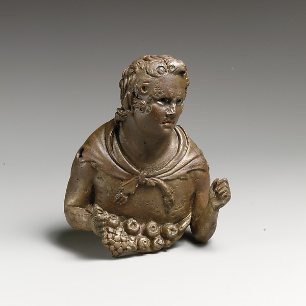 Bronze bust of a young satyr