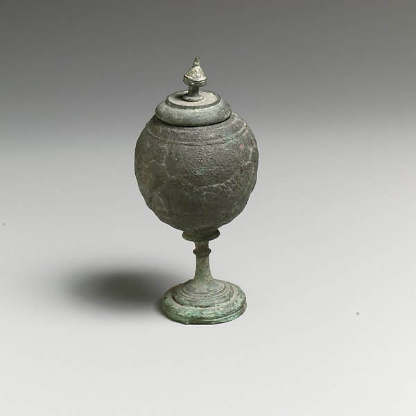 Bronze footed globular vessel with lid