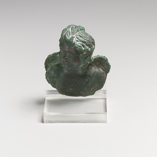 Bronze fulcrum attachment with a bust of Eros