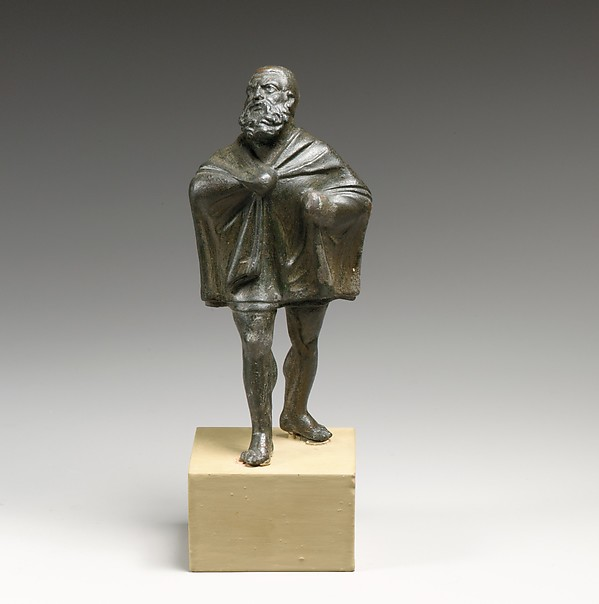 Bronze statuette of a draped man