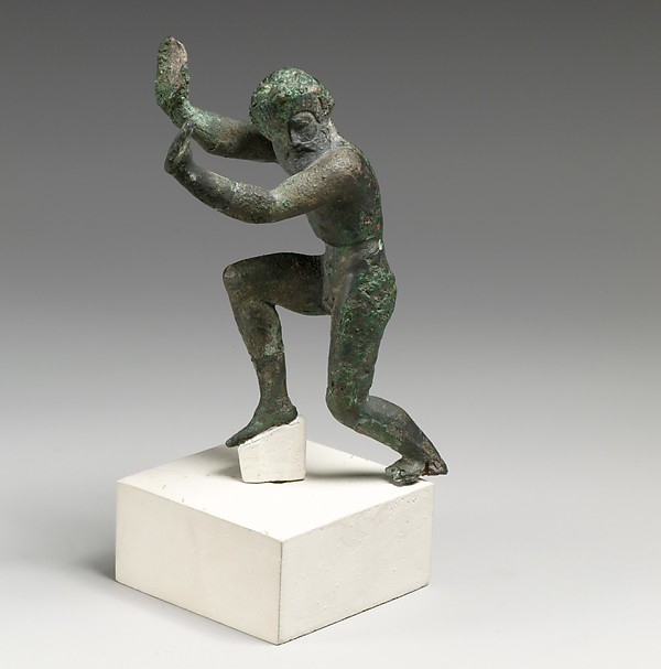 Bronze statuette of a dancing satyr
