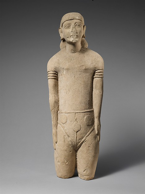 Limestone statuette of a male votary with Cypriot shorts and a diadem