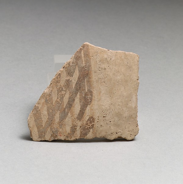 Terracotta vessel fragment with cross-hatched design