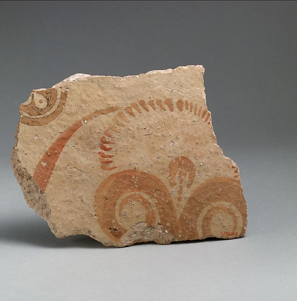 Terracotta vessel fragment with conventionalized lily