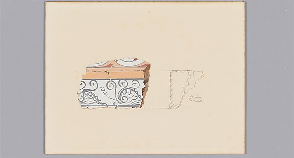 Reproduction of a fresco fragment of a frieze with nautilus