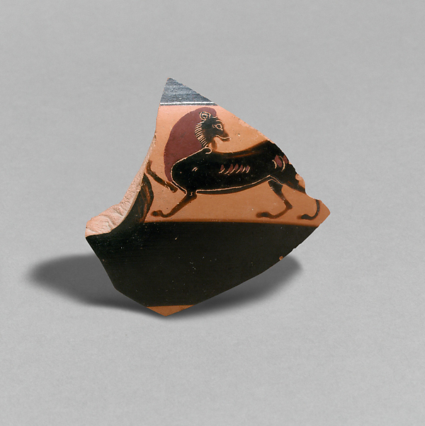 Fragment of a terracotta kylix: band-cup (drinking cup)