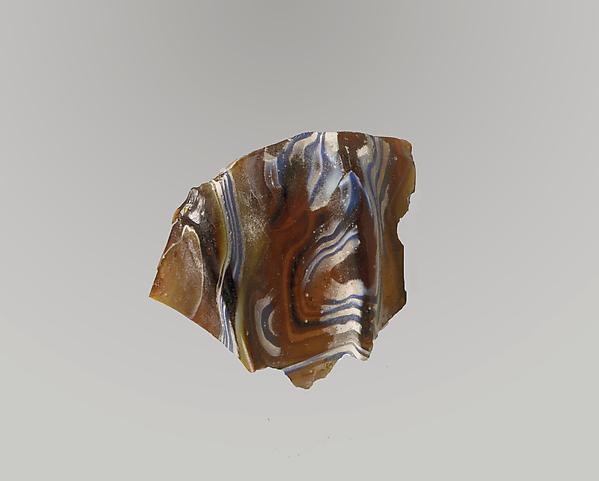 Glass mosaic ribbed bowl fragment