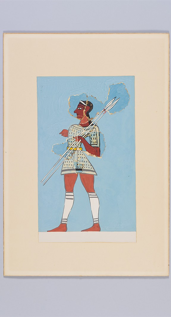 Reproduction of a fresco of a hunter with spears