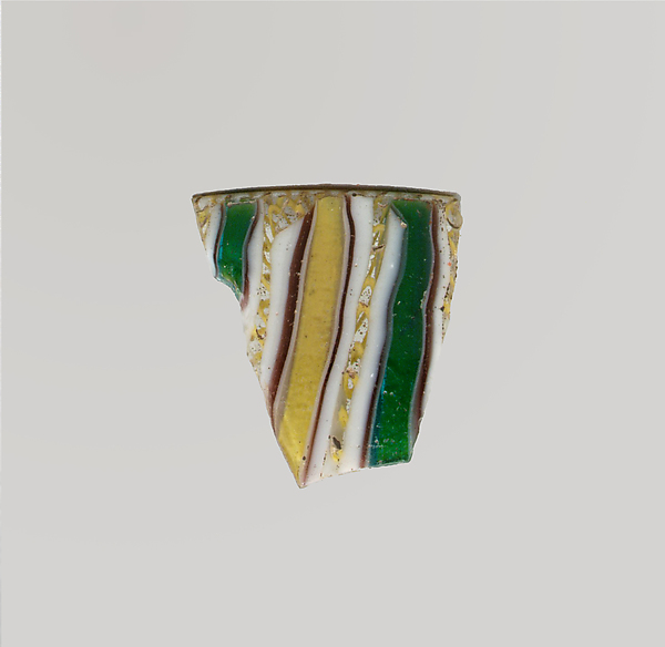 Glass striped mosaic fragment