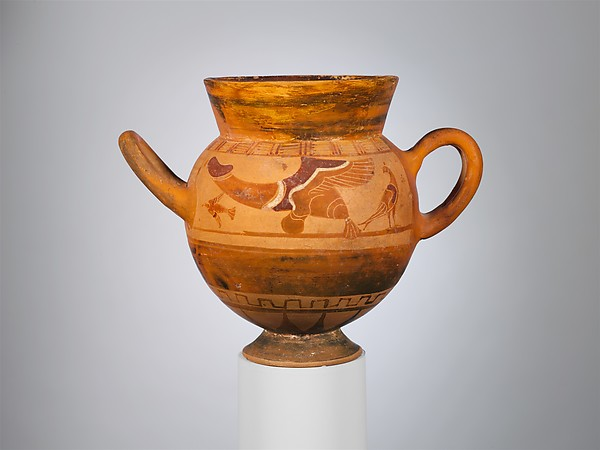 Terracotta globular cup with two handles