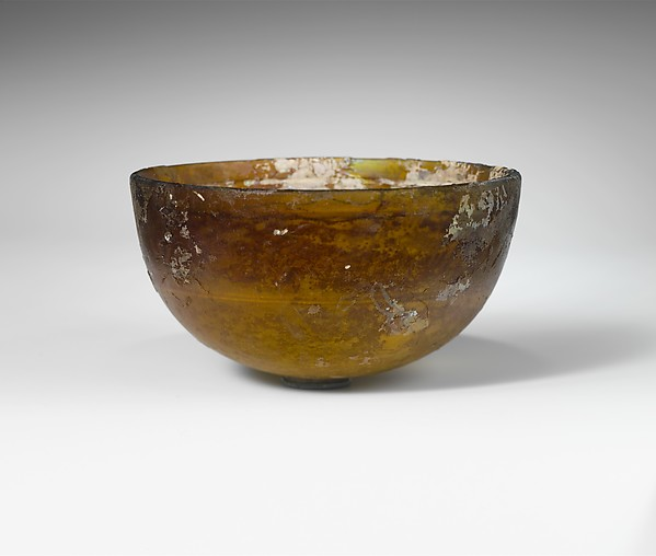 Hemispherical glass bowl