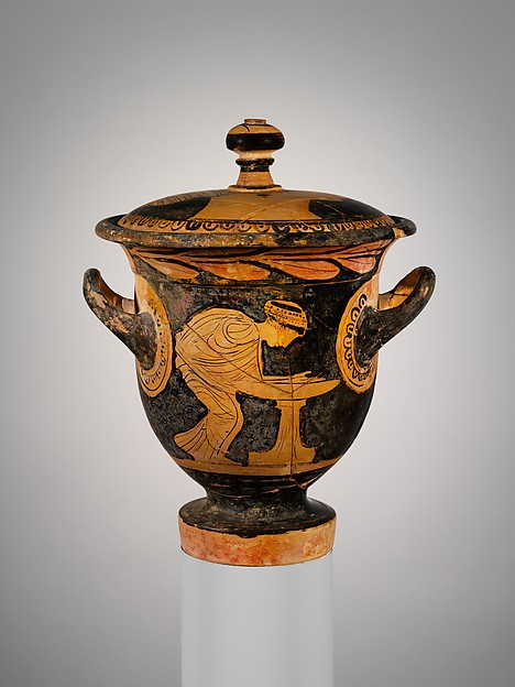 Terracotta bell-krater (mixing bowl) with lid