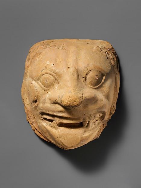 Terracotta head of a lion