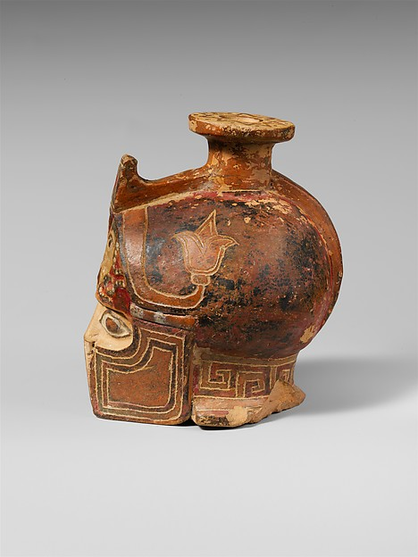 Terracotta aryballos in the form of a helmeted head
