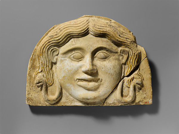 Terracotta gorgoneion antefix (roof tile)