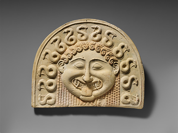 Terracotta painted gorgoneion antefix (roof tile)