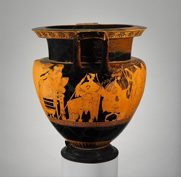 Terracotta psykter-column-krater (vase for chilling and mixing wine and water)