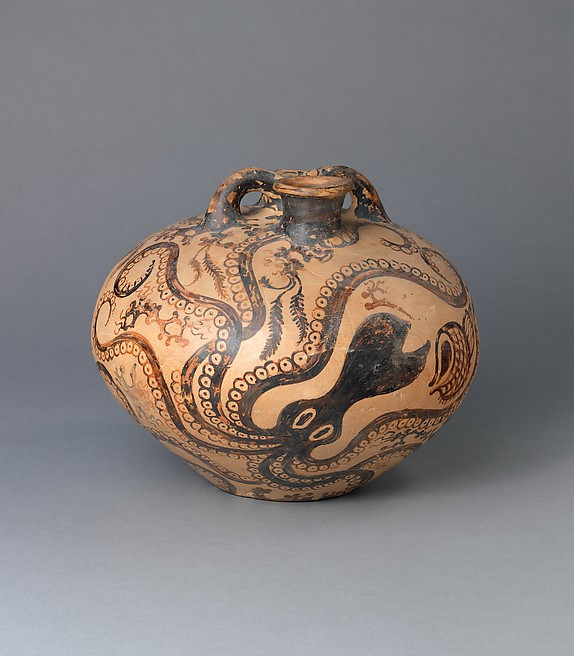 Reproduction of a Marine-style, terracotta stirrup jar