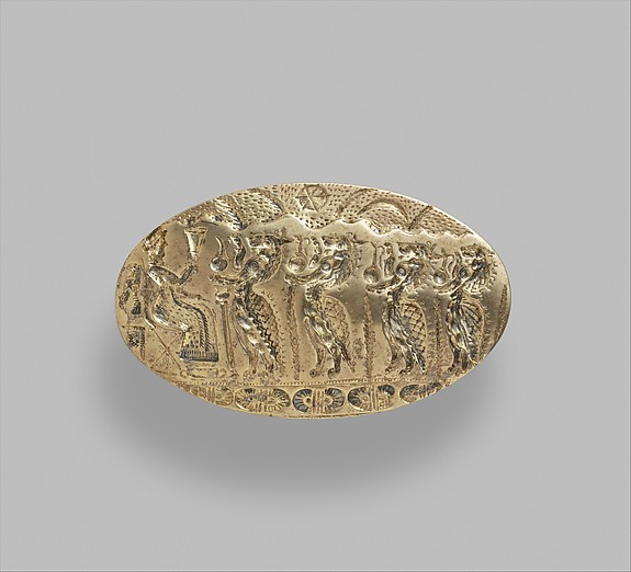 Reproduction of a gold signet ring with a ritual scene