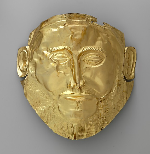 "Reproduction of the gold ""Mask of Agamemnon"""