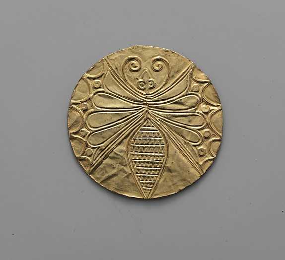 Reproduction of a gold disk with an embossed butterfly